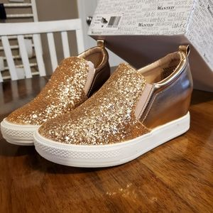 SALE Rose Gold Wedge Sneakers by Wanted 6.5M